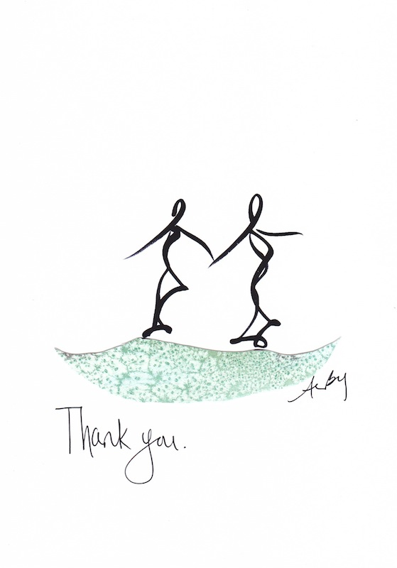 thank you mixed media card series