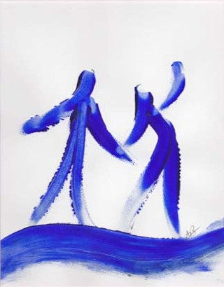 blue finger painting 2007 acrylic 18 by 15